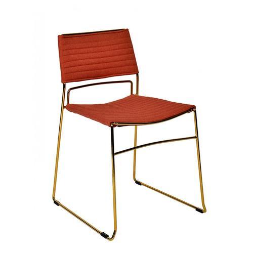 VIG Furniture - Modrest Swain Modern Salmon Fabric & Gold Dining Chair (Set of 2)
