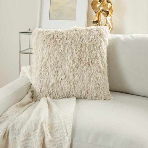 "Shag Tl048 Ivory 20"" X 20"" Throw Pillow"