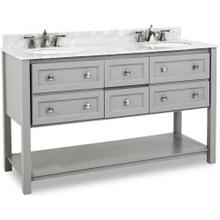 "60"" double Grey vanity with Satin Nickel hardware, Shaker style, open bottom shelf, and preassembled Carrara Marble top and 2 oval bowls"
