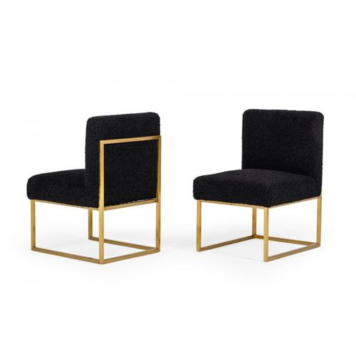 VIG Furniture - Modrest Garvin - Glam Black and Gold Fabric Accent Chair