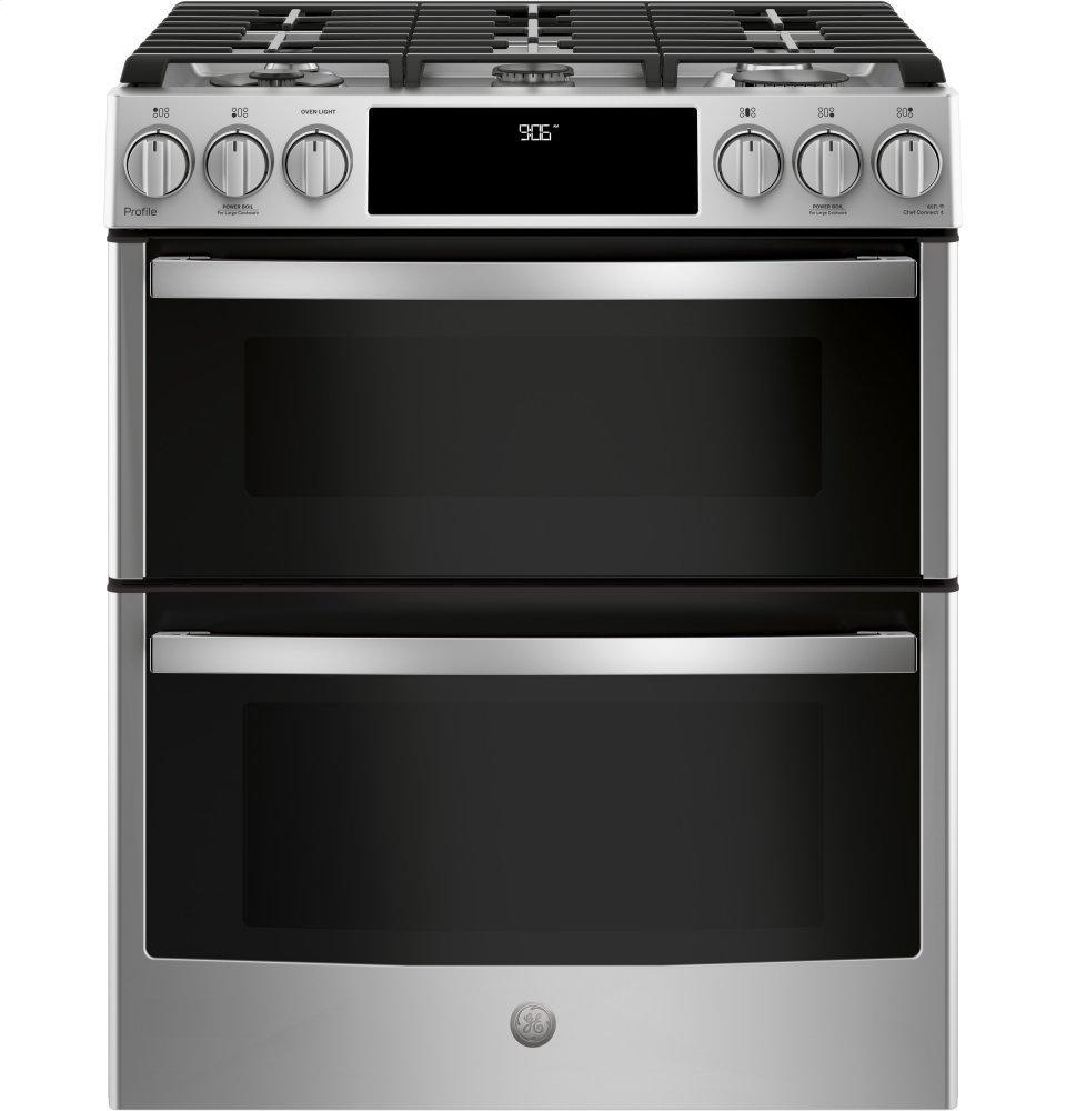 """GE Profile30"""" Smart Slide-In Front-Control Gas Double Oven Convection Range"""