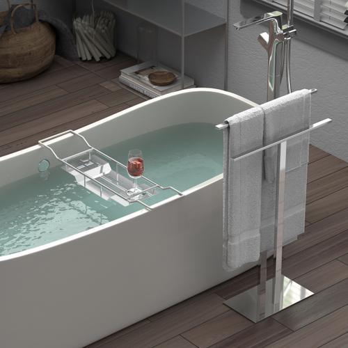 Modern Floor Two Level Towel Holder in Chrome