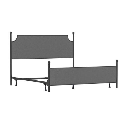 Hillsdale Furniture - Mcarthur King Metal and Upholstered Bed, Matte Black With Gray Fabric