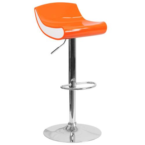 Alamont Furniture - Contemporary Orange and White Adjustable Height Plastic Barstool with Chrome Base