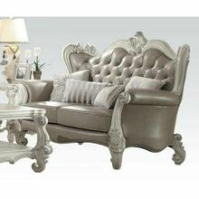 ACME Versailles Loveseat w/4 Pillows - 52126A - Vintage Gray PU & Bone White