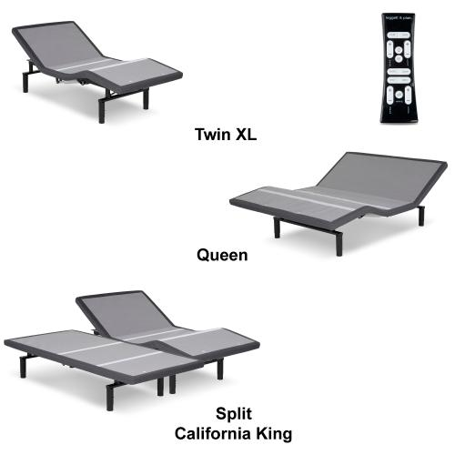 Leggett and Platt - Simplicity 3.0 Low-Profile Adjustable Bed Base with Full Body Massage and Simultaneous Movement, Charcoal Gray Finish, Split Queen
