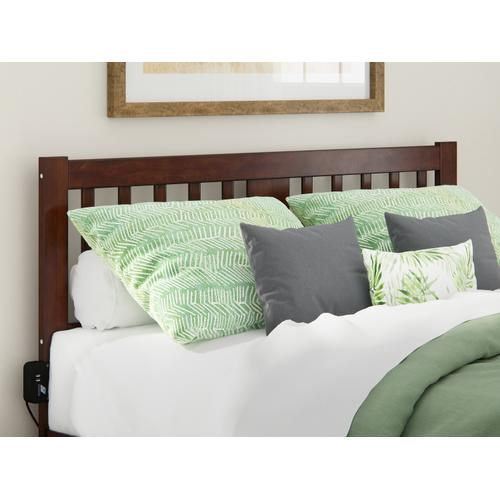 Atlantic Furniture - Tahoe Queen Headboard with USB Turbo Charger in Walnut