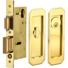 Pocket Door Lock with Traditional Trim featuring Turnpiece and Keyed Entry in (US3 Polished Brass, Lacquered)
