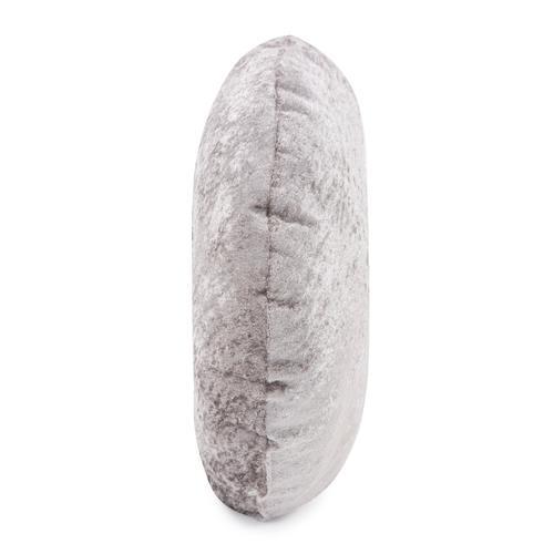 "18"" Round Pillow Amaron Cement Crushed Velvet"