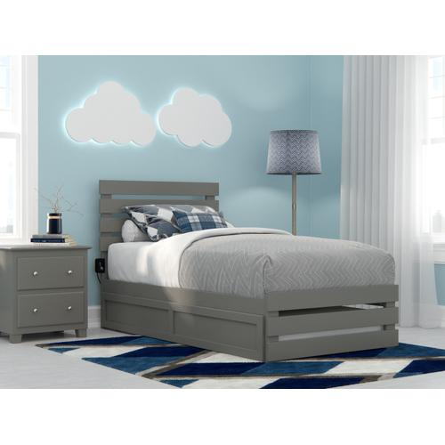 Oxford Twin Bed with Footboard and USB Turbo Charger with Twin Trundle in Grey