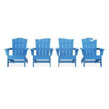 View Product - Wave Collection 4-Piece Adirondack Chair Set in Pacific Blue