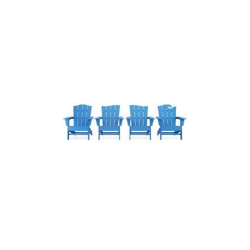 Polywood Furnishings - Wave Collection 4-Piece Adirondack Chair Set in Pacific Blue