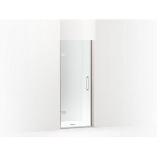 """Kohler - Anodized Brushed Nickel Frameless Pivot Shower Door, 71-5/8"""" H X 27-5/8 - 28-3/8"""" W, With 3/8"""" Thick Crystal Clear Glass"""