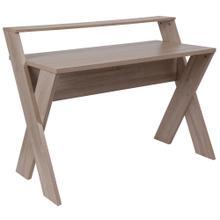 See Details - Sonoma Oak Wood Grain Finish Computer Desk with Shelf