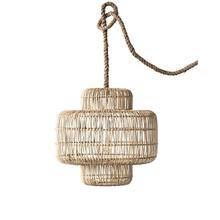 "20-3/4"" Round x 19-3/4""H Wicker Pendant Lamp, 6' Rope Cord (60 Watt Bulb Maximum, Hardwire Only)"