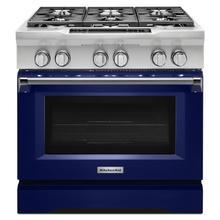 See Details - 36'' 6-Burner Dual Fuel Freestanding Range, Commercial-Style Cobalt Blue