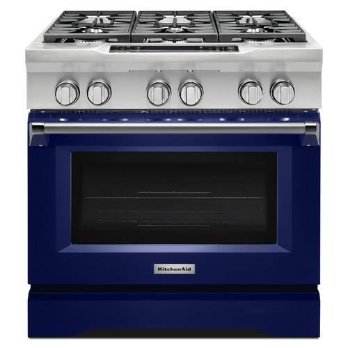 KitchenAid - 36'' 6-Burner Dual Fuel Freestanding Range, Commercial-Style Cobalt Blue