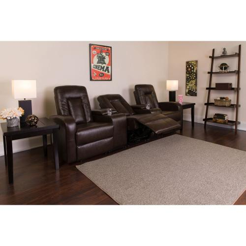 3-Seat Push Button Motorized Reclining Brown Leather Theater Seating Unit with Cup Holders