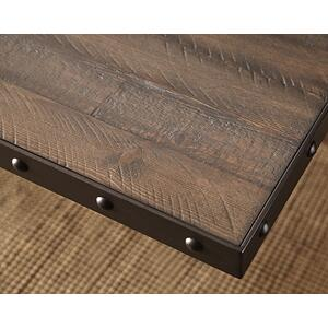 Jennings Rectangle Counter Height Table - Distressed Walnut Wood / Brown Metal