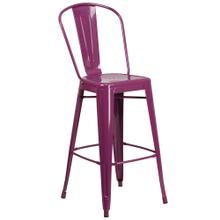 30'' High Purple Metal Indoor-Outdoor Barstool with Back