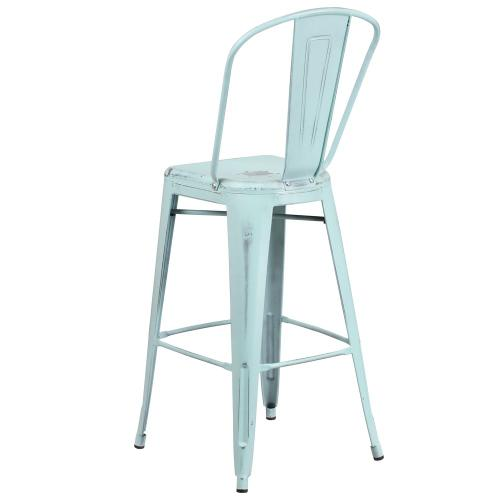 30'' High Distressed Green-Blue Metal Indoor-Outdoor Barstool with Back
