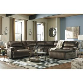Clonmel 6 Piece Reclining Sectional Chocolate FLOOR MODEL DOES NOT HAVE CHAISE LOUNGE HAS 1 ARM RECLINER