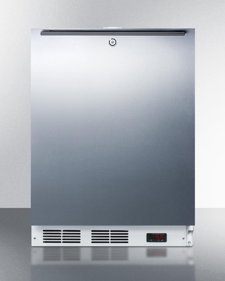 SummitBuilt-In Undercounter Ada Compliant Frost-Free All-Freezer For General Purpose Use, With Digital Thermostat, White Cabinet, Stainless Steel Door, Horizontal Handle, And Lock