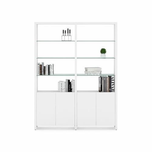 BDI Furniture - Linea Shelves 5802A Double Shelf Extension in Smooth Satin White