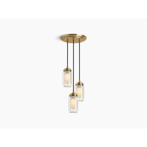 Modern Brushed Gold Three-light Pendant Cloud