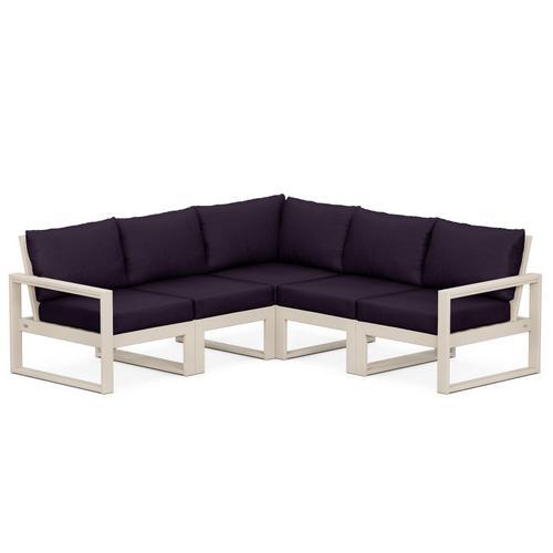 Polywood Furnishings - EDGE 5-Piece Modular Deep Seating Set in Sand / Navy Linen