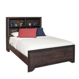 Kids Full Bed Bookcase Headboard in Espresso Brown