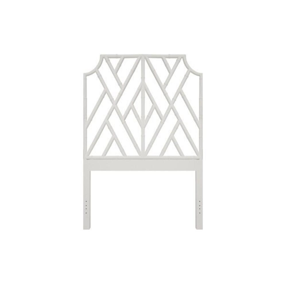 Chippendale Style Twin Bamboo Headboard In Matte White Lacquer