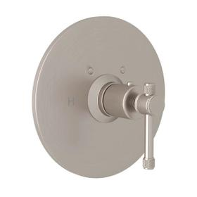 Campo Thermostatic Trim Plate without Volume Control - Satin Nickel with Industrial Metal Lever Handle