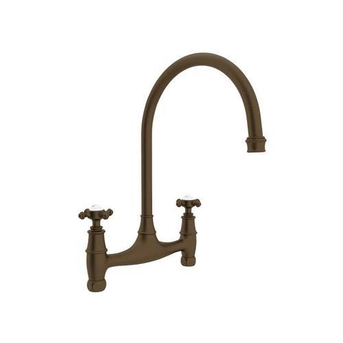 Georgian Era Bridge Kitchen Faucet - English Bronze with Cross Handle