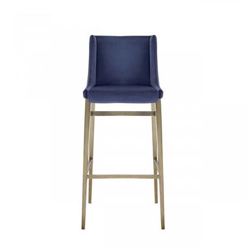VIG Furniture - Modrest Mimi - Contemporary Blue Velvet & Antique Brass Bar Stool (Set of 2)