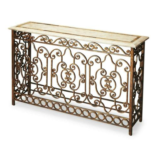 Butler Specialty Company - This stunning console table will be the brightest spot in your room. Its white fossil stone veneer top has a snake skin fossil stone inset border. Its intricate hand forged wrought iron base provides a beautiful counterpoint in an antique gold finish.