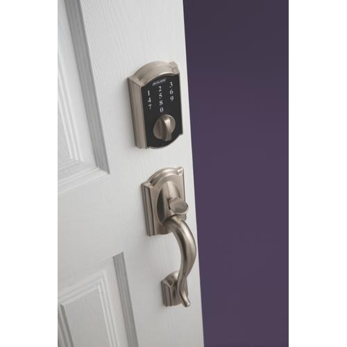 Schlage - Schlage Touch Keyless Touchscreen Deadbolt with Camelot trim paired with Camelot Handleset and Flair Lever with Camelot trim - Satin Nickel