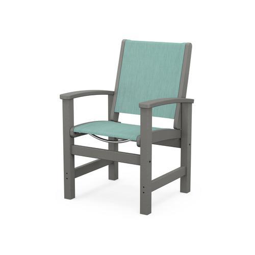 Coastal Dining Chair in Slate Grey / Aquamarine Sling
