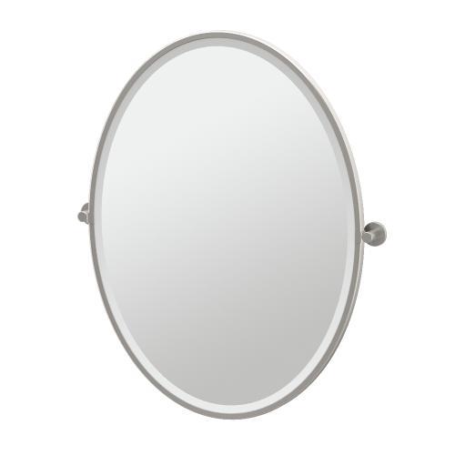 Channel Framed Oval Mirror in Satin Nickel