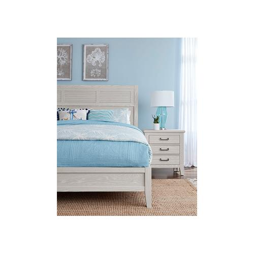 Lm Co. Home - LOUVERED BED WITH LOW PROFILE FOOTBOARD IN OYSTER GREY