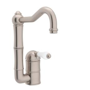 Acqui Single Hole Column Spout Bar and Food Prep Faucet - Satin Nickel with White Porcelain Lever Handle