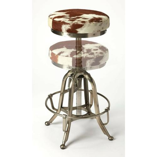 Perfect pulled up to your open-concept kitchen island, or paired with a rustic home bar, this stylish swivel bar stool lends a touch of rustic appeal to any ensemble. Crafted of Iron in a silver finish, the four-legged frame features a hand adjustment and