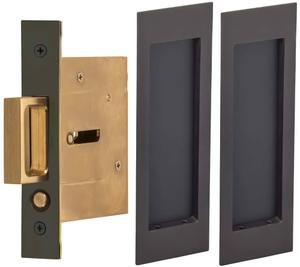 Passage Pocket Door Lock with Modern Rectangular Trim featuring Mortise Edge Pull in (US10B Black, Oil-Rubbed, Lacquered) Product Image