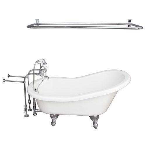 "Estelle 60"" Acrylic Slipper Tub Kit in White - Polished Chrome Accessories"