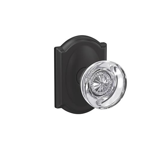 Custom Hobson Glass Knob with Camelot Trim Hall-Closet and Bed-Bath Lock - Matte Black