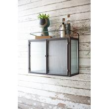 See Details - double door metal and corrugated glass wall cabinet