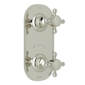 1/2 Inch Thermostatic and Diverter Control Trim - Polished Nickel with Cross Handle