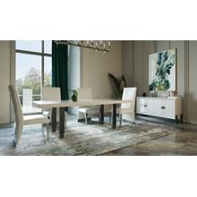 View Product - Modrest Lenny- Modern White High Gloss & Stainless Steel Gun Metal Dining Table