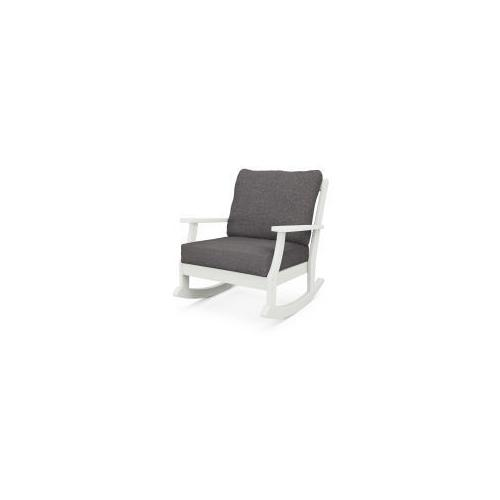 Braxton Deep Seating Rocking Chair in Vintage White / Ash Charcoal