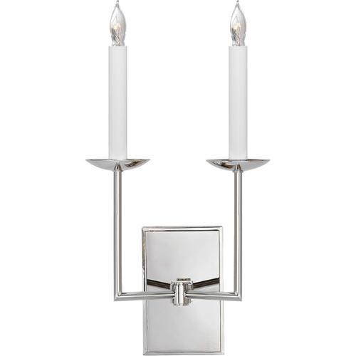 E. F. Chapman Right Angle 2 Light 10 inch Polished Nickel Decorative Wall Light